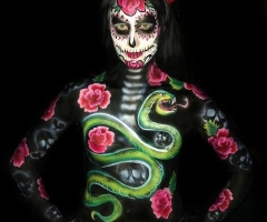 Rose /Snake Body Paint Design
