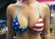 American Flag Bikini Top Body Paint Design