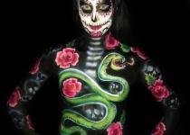 Rose /Snake Body Paint Design