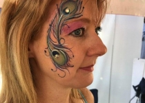 Peacock Feather Face Paint Dsign