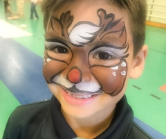 Rudolf the Rednosed Reindeer Face Paint Design