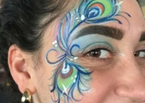 Peacock Flower Face Paint Design