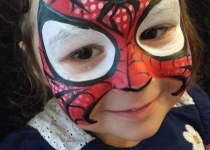 girl spiderman face paint design