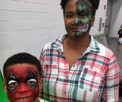 The hulk & deadpool face paint design