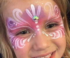 pink princess mask face paint design