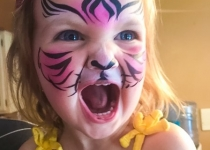 Pink Tiger Face Painting Design
