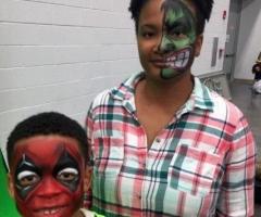 The hulk & deadpool face paint design