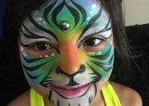 rainbow tiger face paintingd design