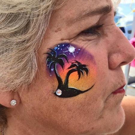 Palm Tree Face Painting Design