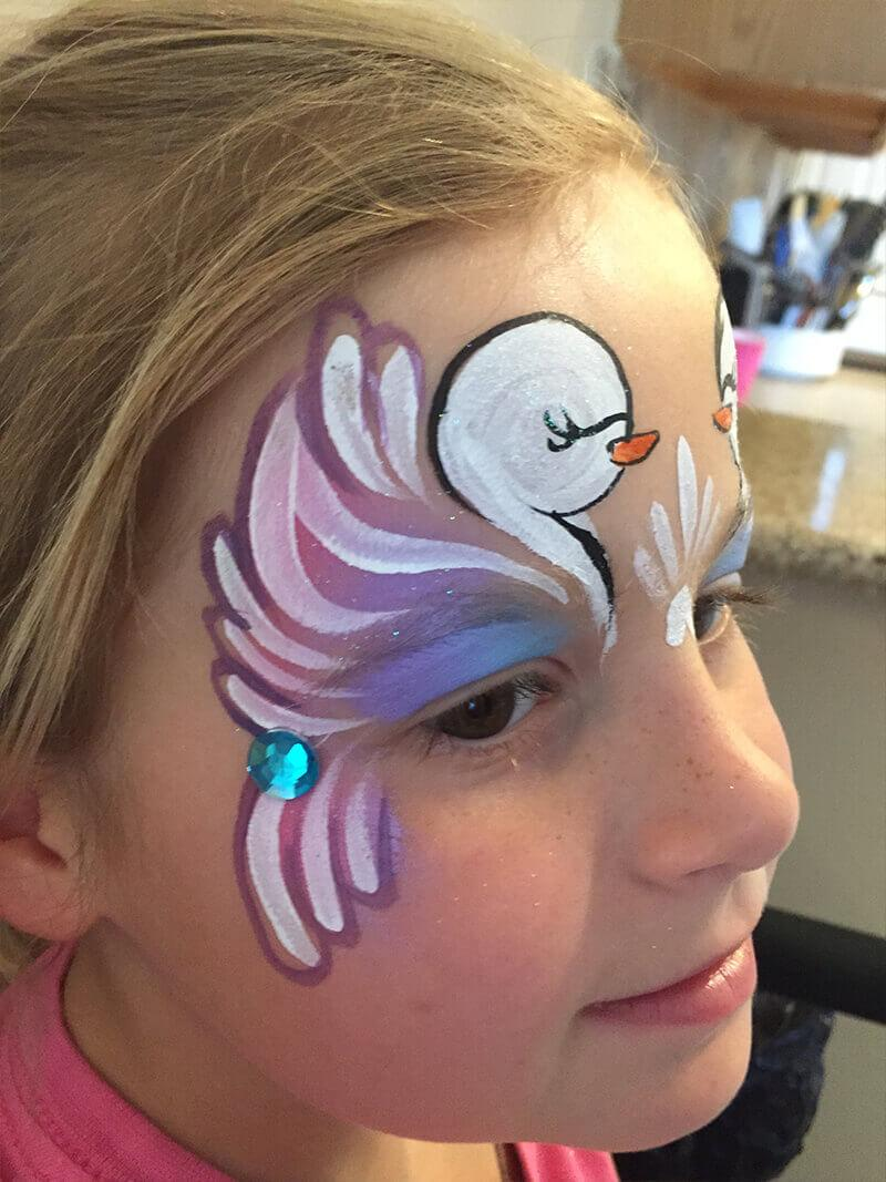 swan face paint design