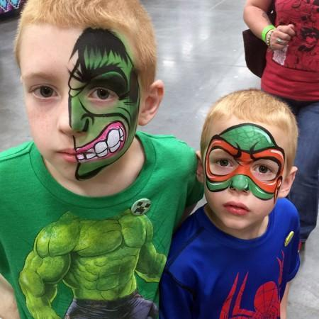 the hulk and tmnt face pait design