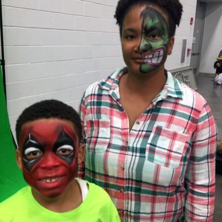 hulk deadpool face paint design