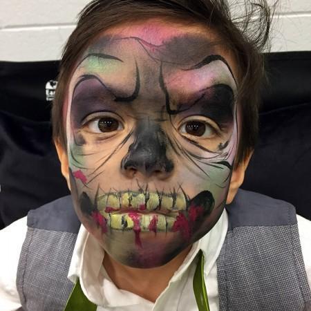 kid zombie face paint design