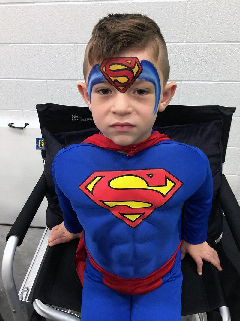 Superman Face paint design
