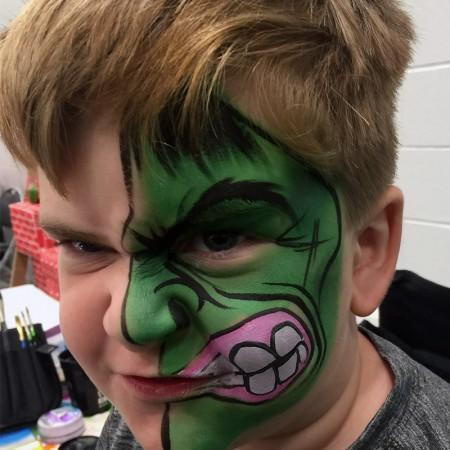 The hulk face pait design for kids
