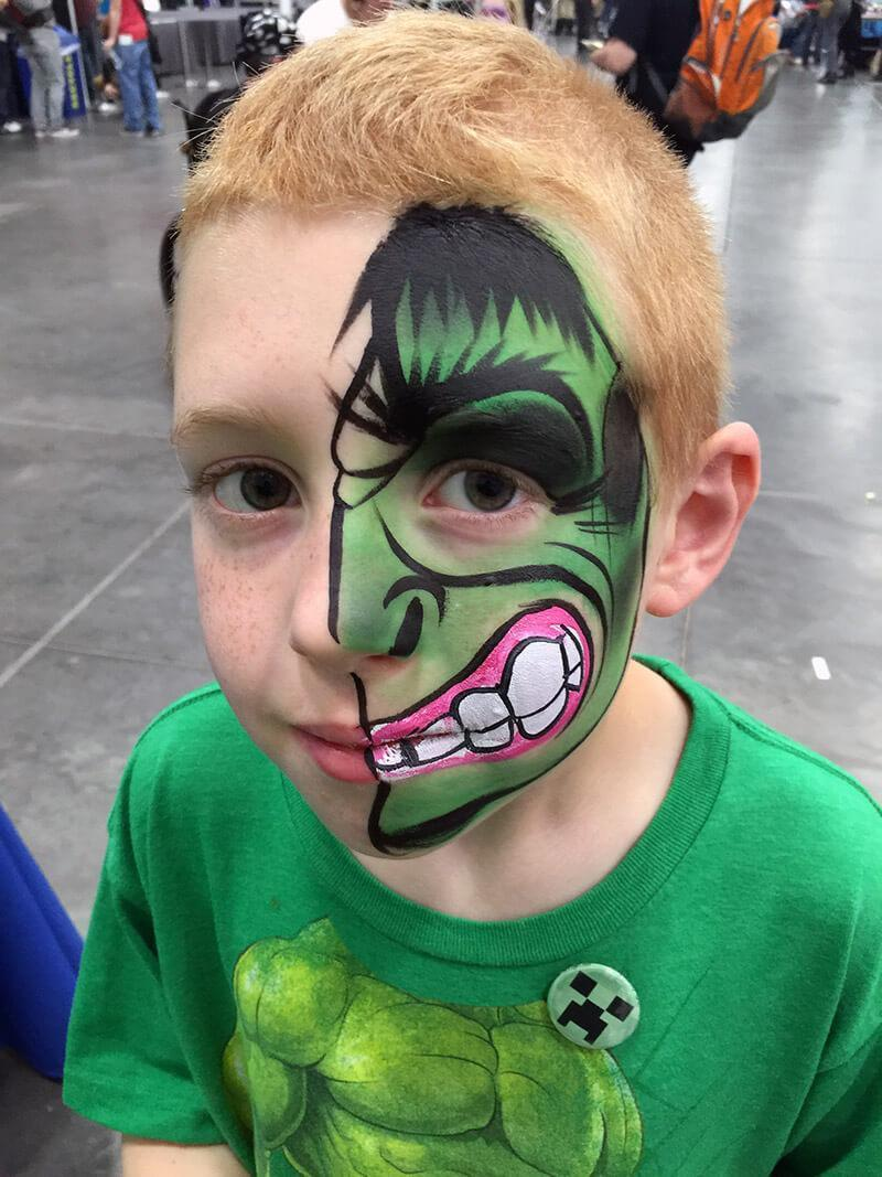 the hulk face paint design
