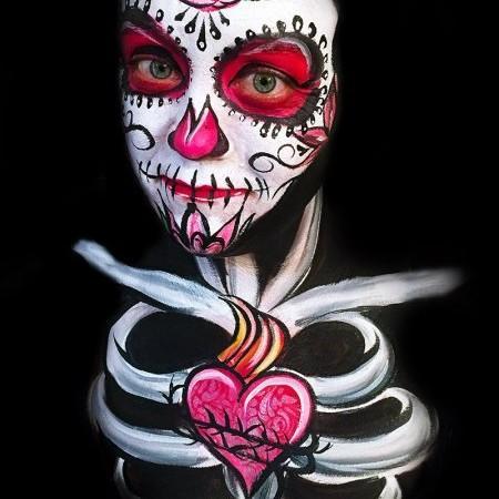 Sugar skull face and body paint design
