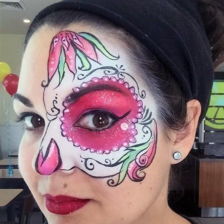 womans sugar skull face paint design