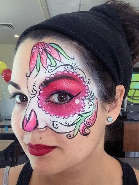 womans sugar skull face paint design