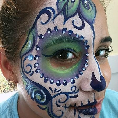 pretty sugar skull face paint design