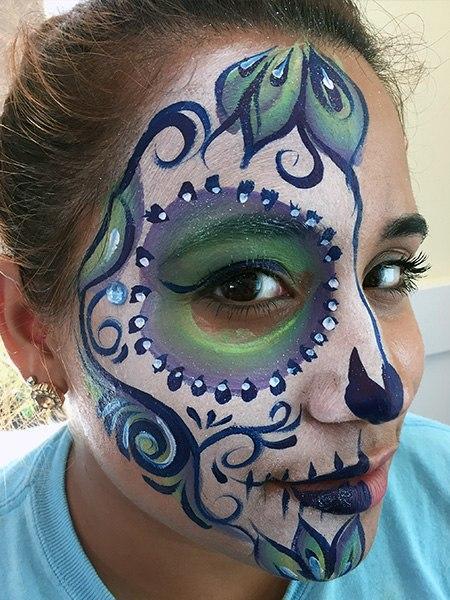 pretty sugar skull face paint design