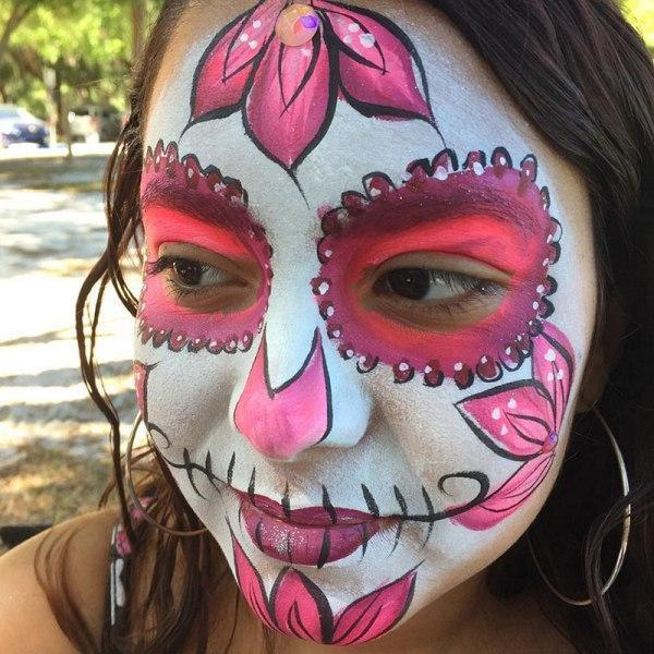 Girl sugar skull face paint design
