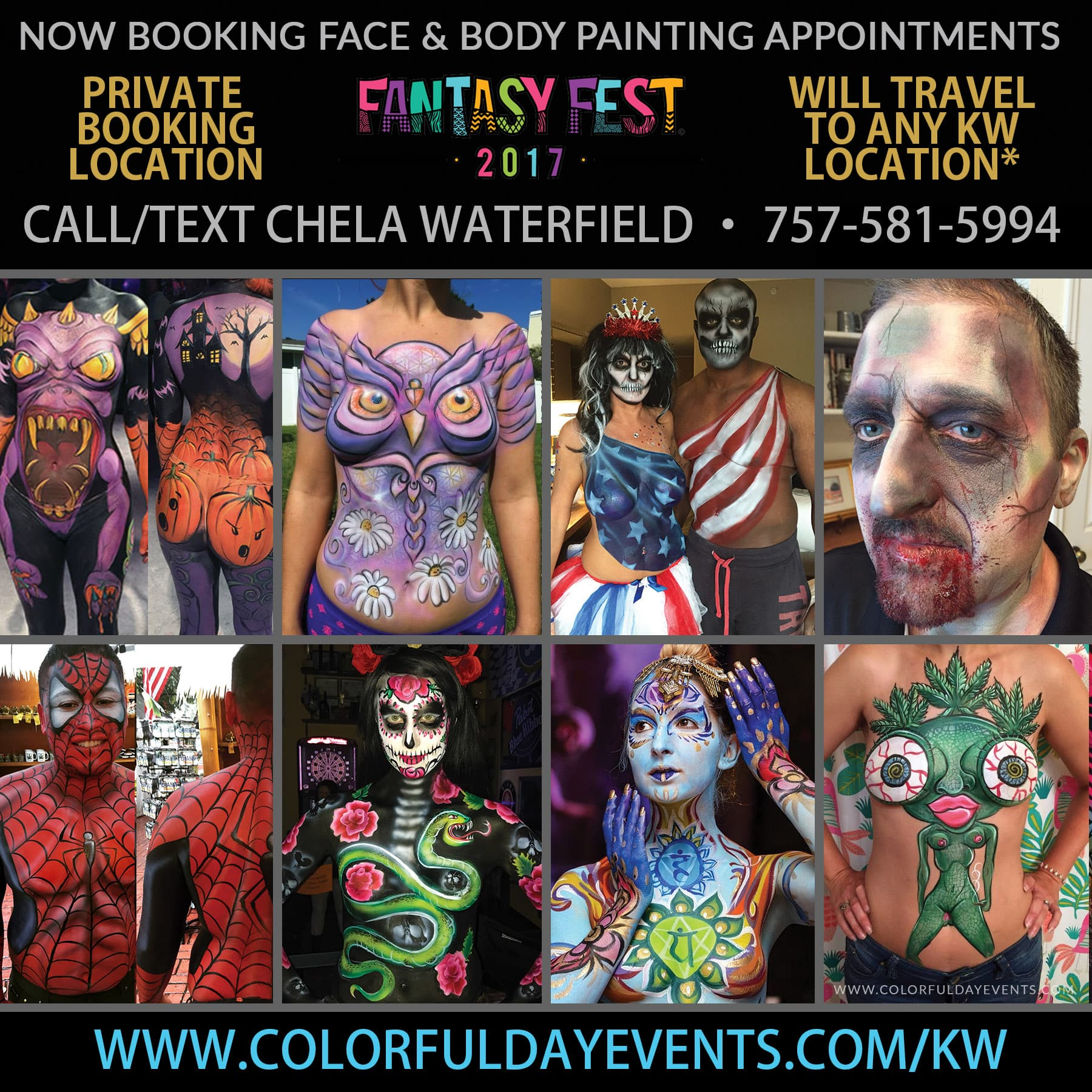 hire a Fantasy Fest body painter