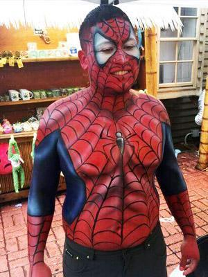 Spiderman upper torso body paint