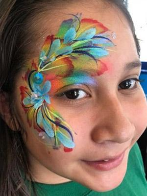 colorful flower face paint design