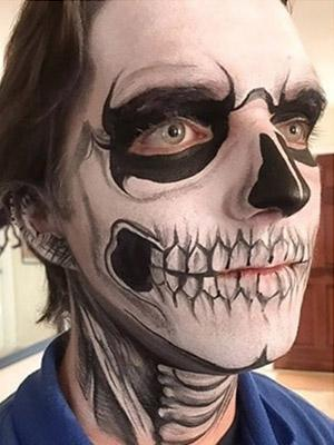 teen skull face paint design